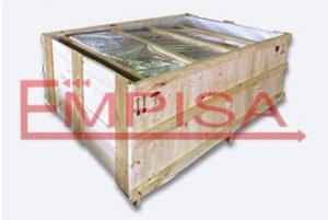 Embalaje de madera con bolsa de aluminio termosellado.