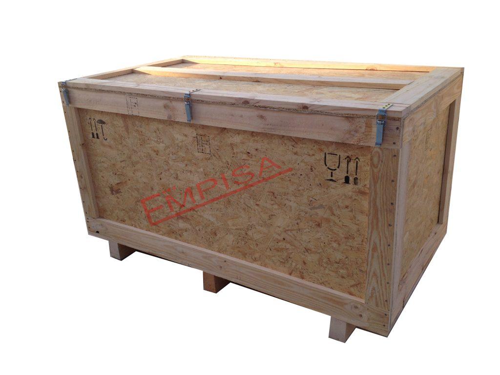 Caja embalaje madera aglomerado OSB tapa con bisagras y cierres
